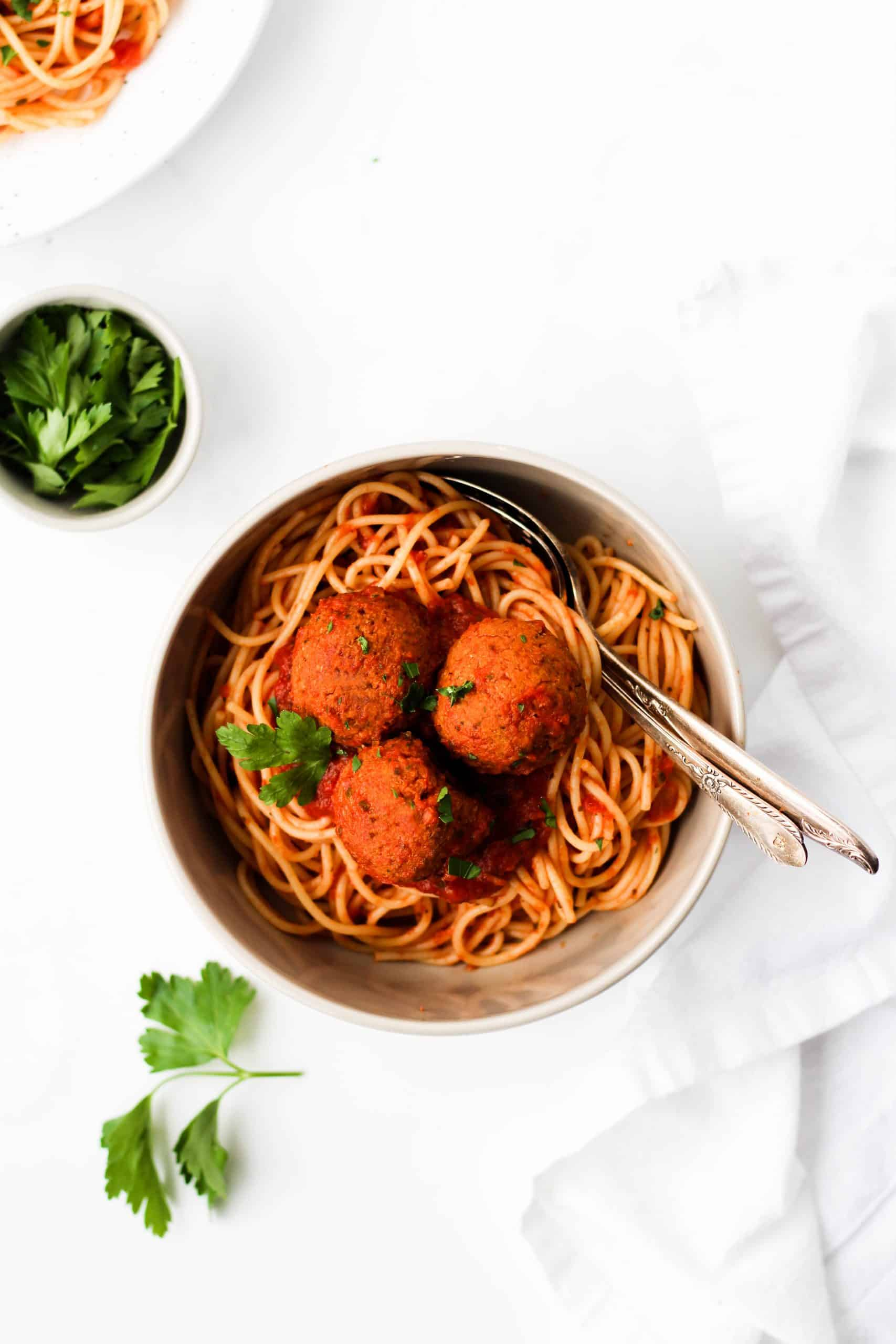 These Italian-inspired lentil meatballs are a healthy, vegan alternative to traditional meatballs. With minimal steps, they're simple to make and delicious eat!