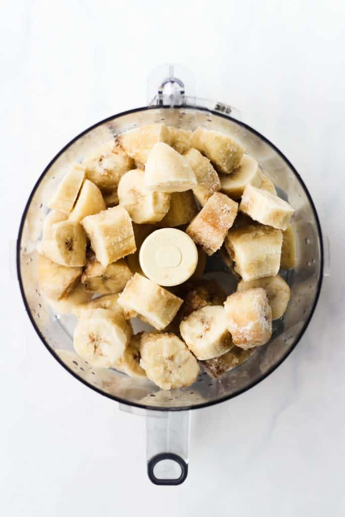 Frozen bananas in a food processor, soon to be banana ice cream!