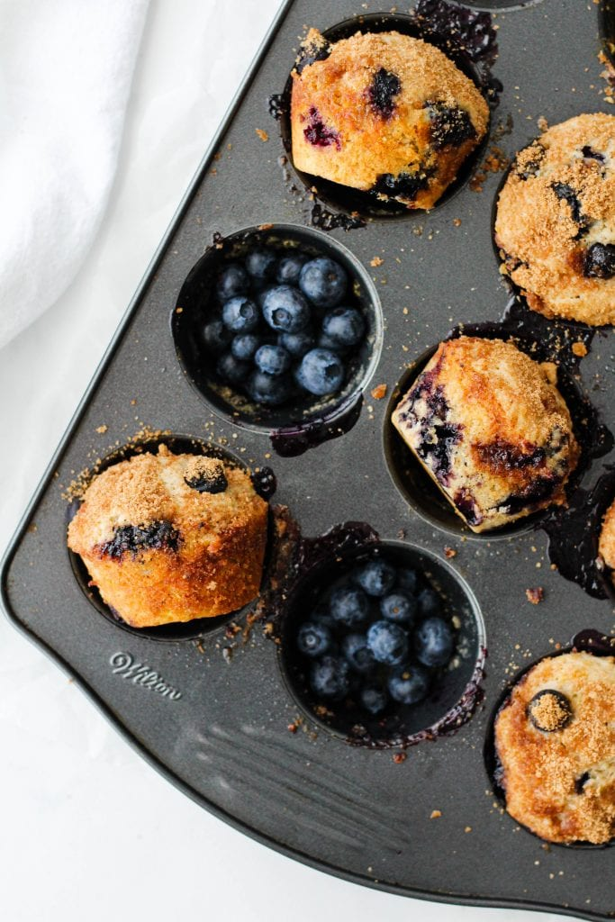 These blueberry coffee cake muffins with a light cinnamon brown sugar topping are perfect for breakfast or snack! Pair with a delicious coffee, of course.