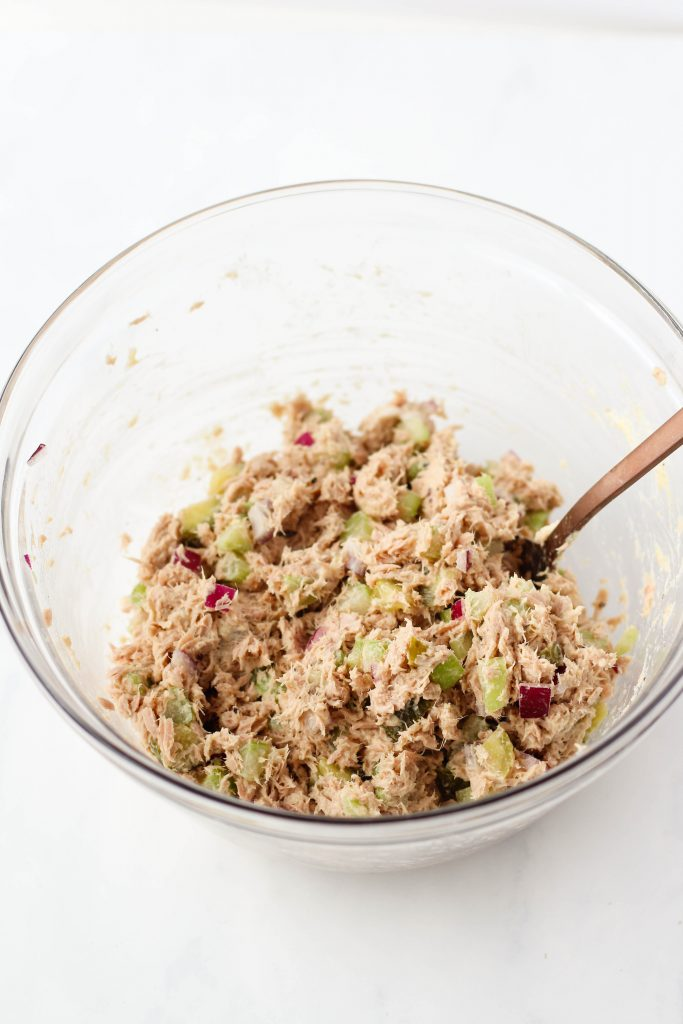 Healthy tuna salad in a mixing bowl