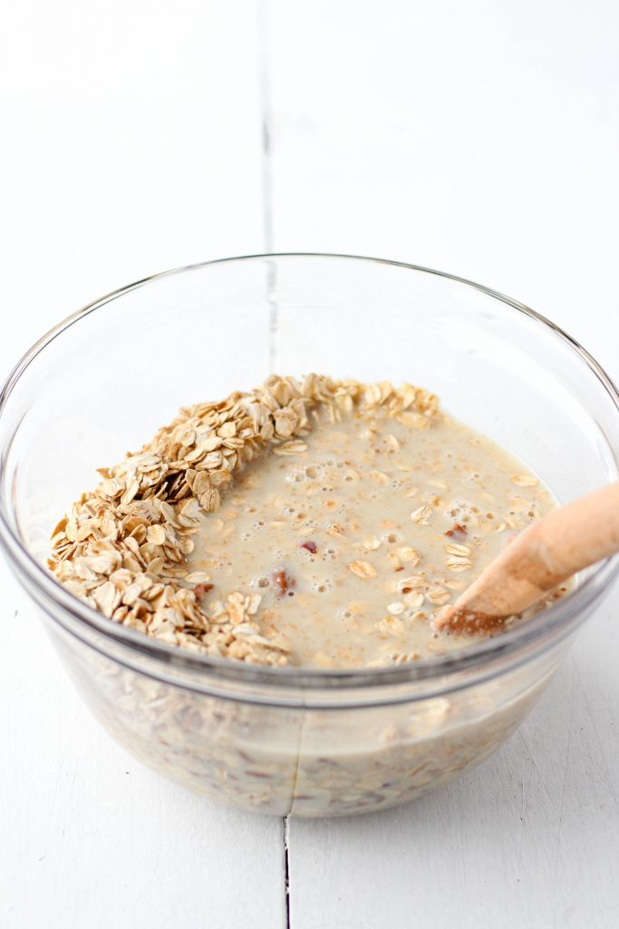 Mix wet ingredients with dry ingredients