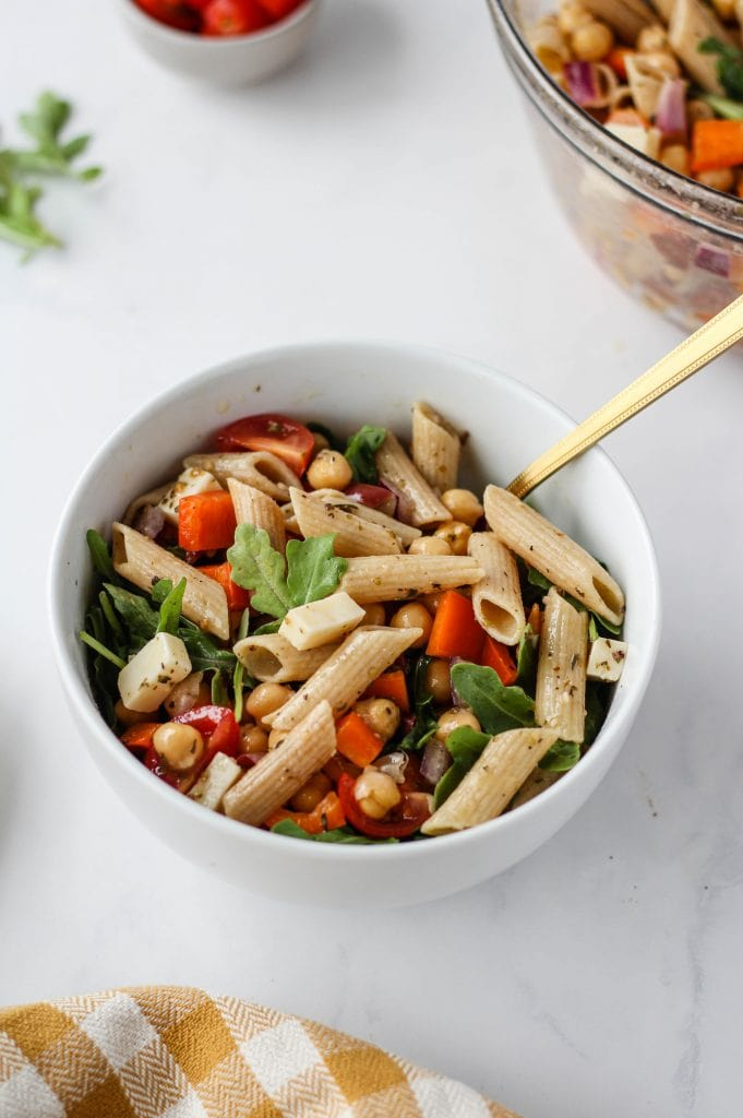 This zesty, easy Italian Pasta Salad is the perfect recipe to meal prep for the week. It's full of fibre, protein, and veggies! Pack it for lunch or serve it as a side dish with dinner! This recipe is vegetarian, and can easily be made vegan and gluten-free.