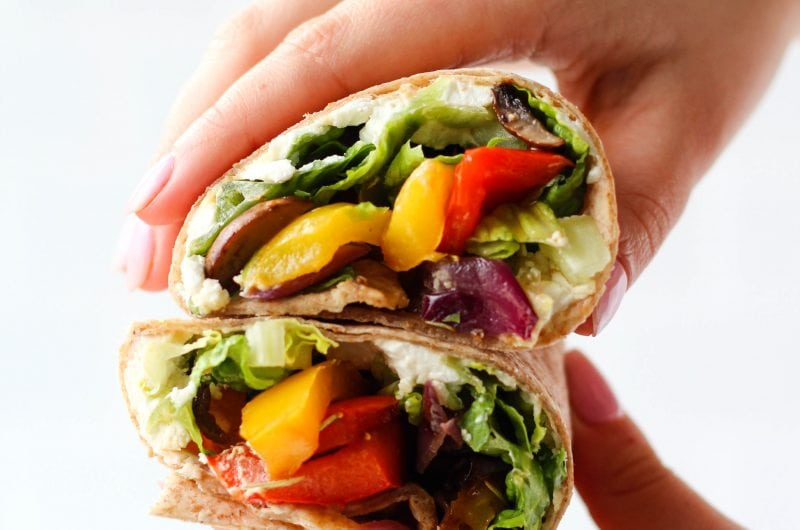 A simple and healthy yet super flavourful Grilled Veggie Wrap filled with balsamic marinated and grilled vegetables, goat cheese and hummus. Makes a delicious healthy lunch or dinner recipe!