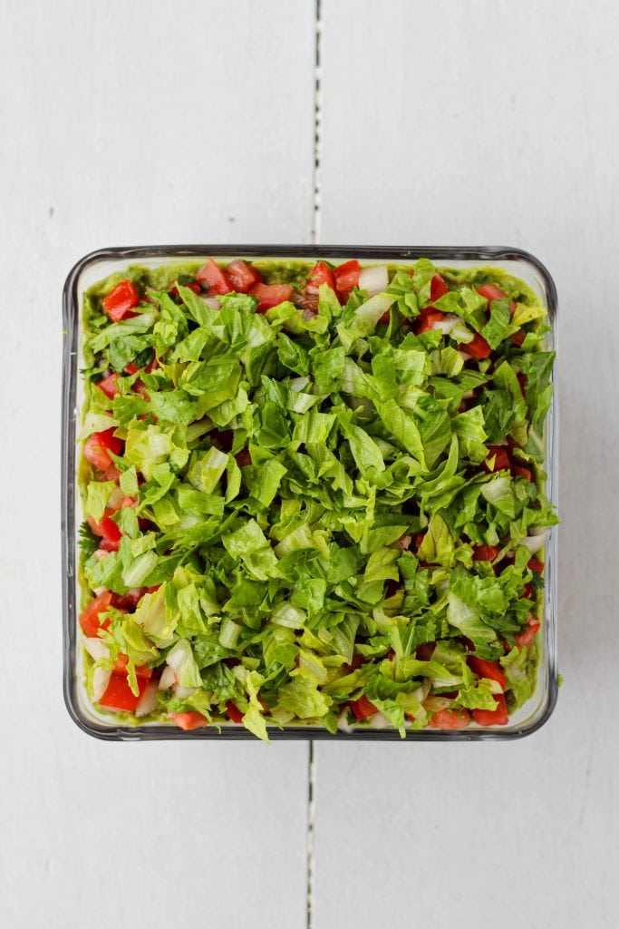 Lettuce layer in a pan.